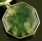 Moss agate cufflinks. (J9518)