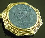 Regal blue guilloche enamel cufflinks. (J9525)