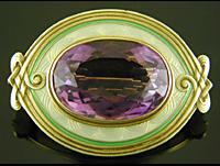 Art Nouveau amethyst and enamel brooch. (J9530)