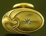 Art Nouveau diamond cufflinks. (J9526)